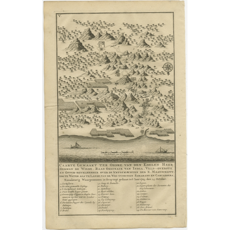 Antique Print of the Road between Semarang and Kartosuro by Valentijn (1726)