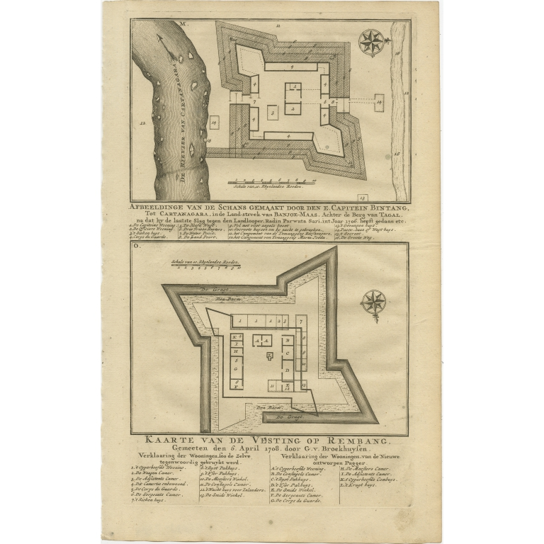 Antique Print of the Fortress of Captain E. Bintang by Valentijn (1726)