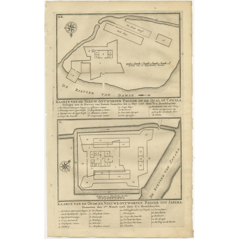 Antique Print of the Fortifications of Demak and Jepara by Valentijn (1726)