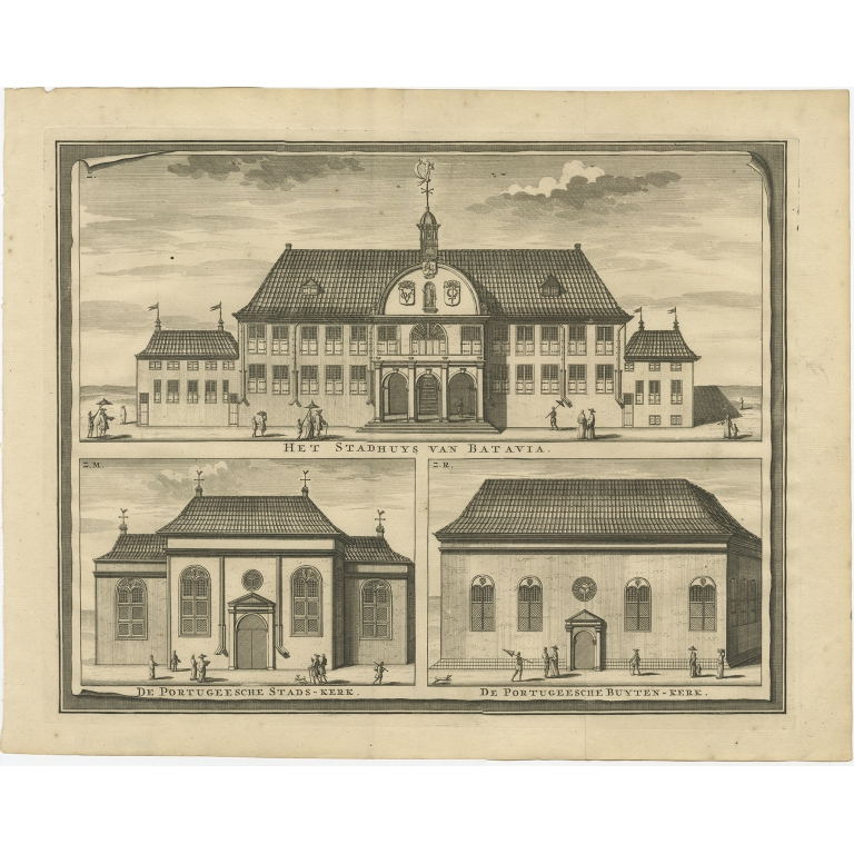 Antique Print of the City Hall and Portugese Church of Batavia by Valentijn (1726)