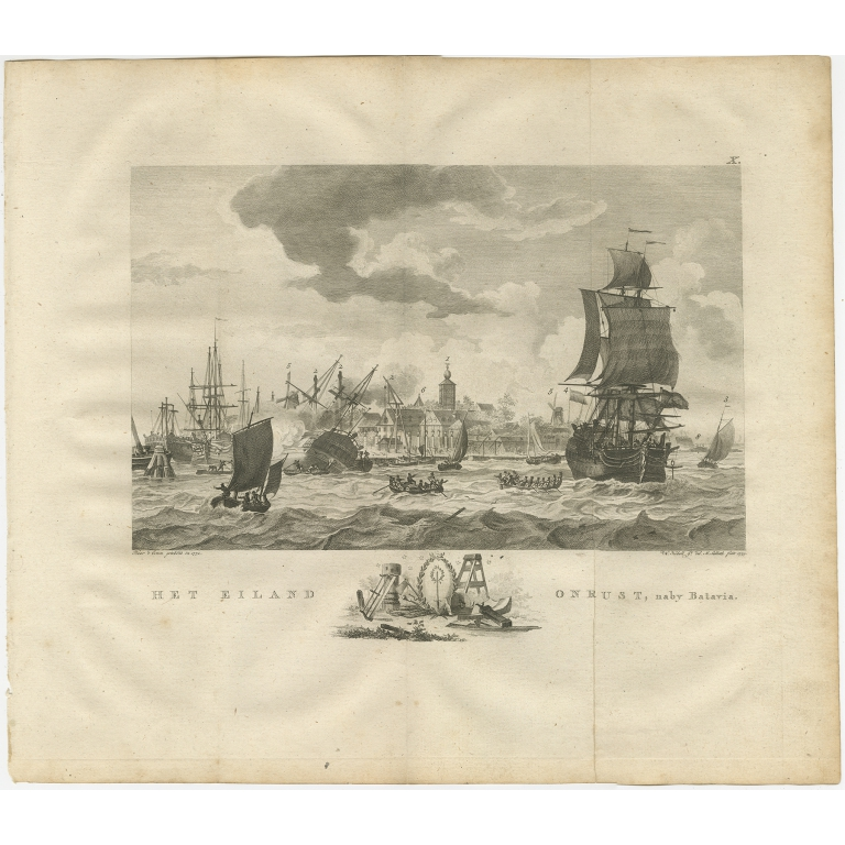 Antique Print of Ships near Onrust Island by Kobell (1779)