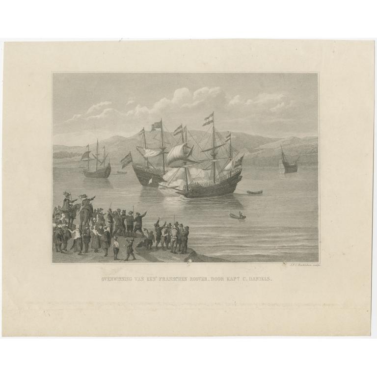 Antique Print of the Conquest of Captain Cornelis Daniels by Reckleben (c.1860)
