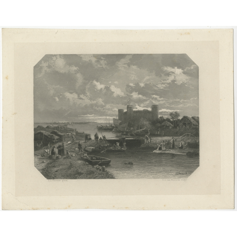 Antique Print of the City of Muiden by Van Kesteren (c.1870)
