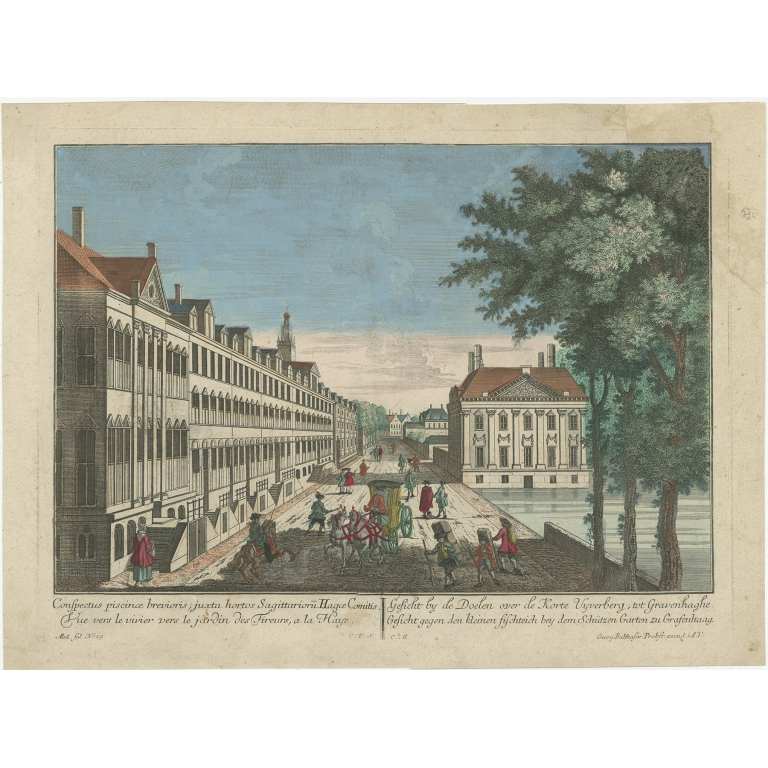 Antique Print of the Korte Vijverberg in The Hague by Probst (c.1760)
