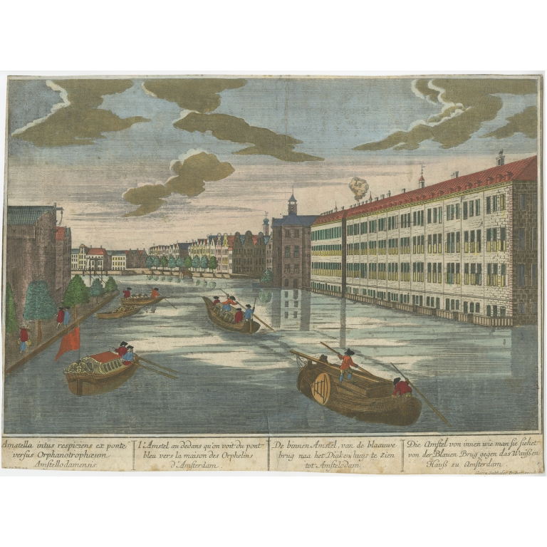 Antique Print of the 'Binnen Amstel' in Amsterdam by Probst (c.1760)