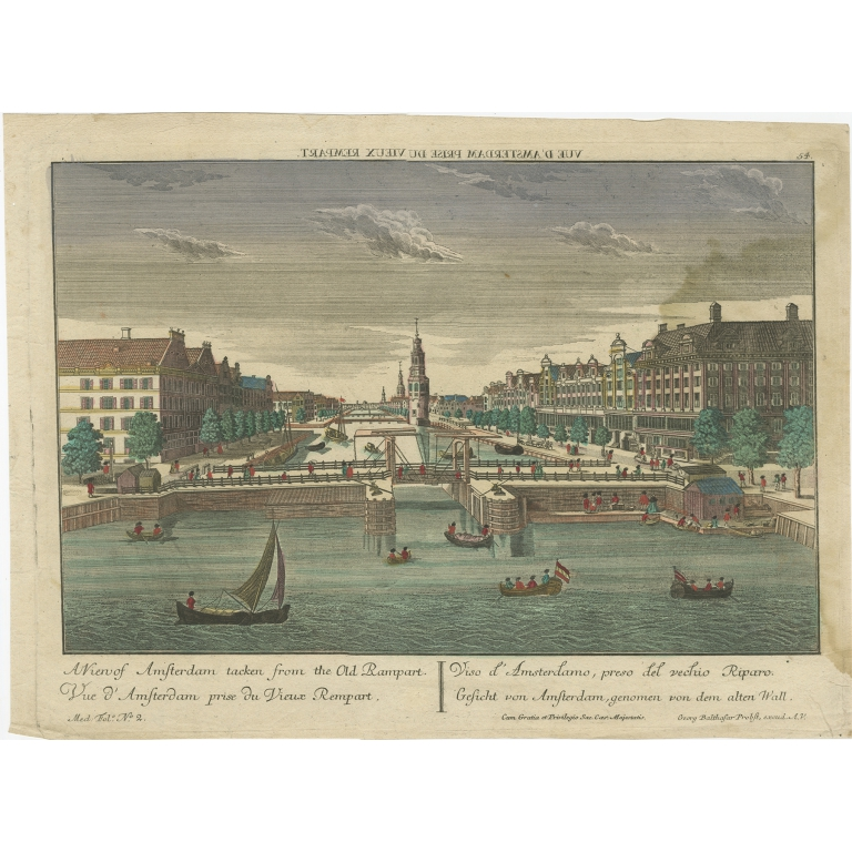 Antique Print of Amsterdam from the Old Rampart by Probst (c.1760)