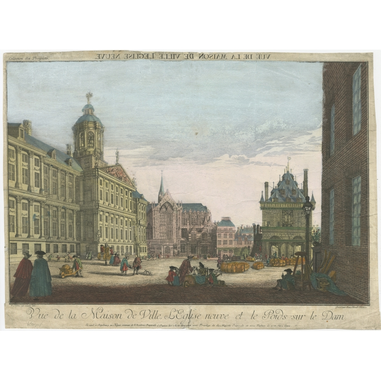 Antique Print of the 'Dam' in Amsterdam by Winkler (c.1770)
