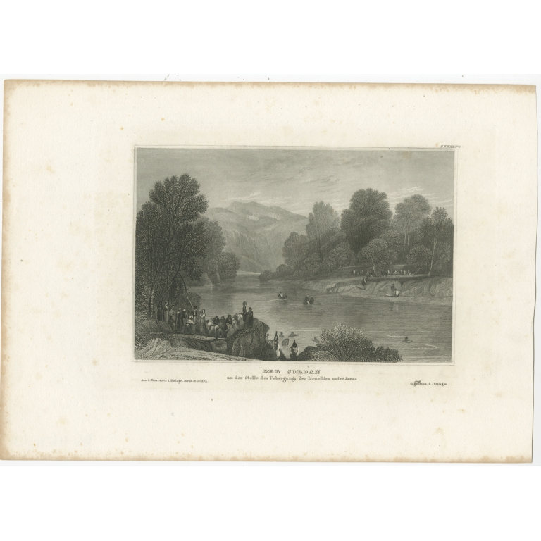 Antique Print of the Jordan River by Meyer (1837)