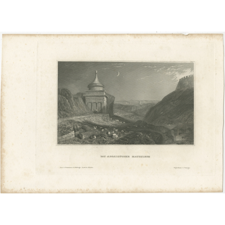 Antique Print of the Tomb of Absalom by Meyer (1837)