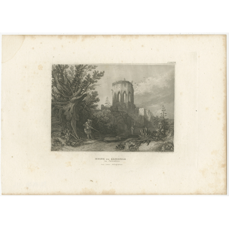 Antique Print of the Ruin of Samaria by Meyer (1837)
