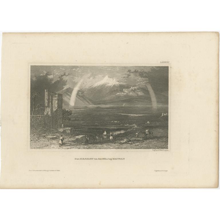 Antique Print of Mount Ararat by Meyer (1835)