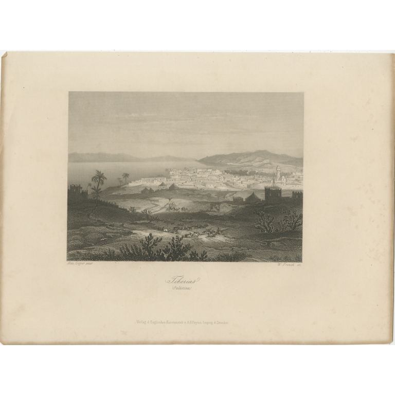 Antique Print of Tiberias by Payne (c.1840)