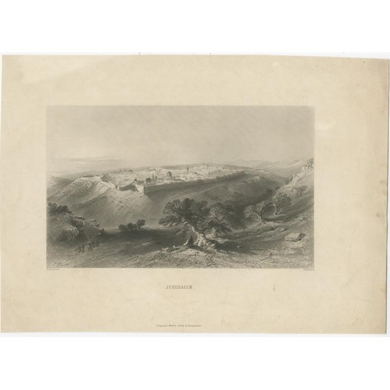 Antique Print of Jerusalem by Brandard (c.1840)
