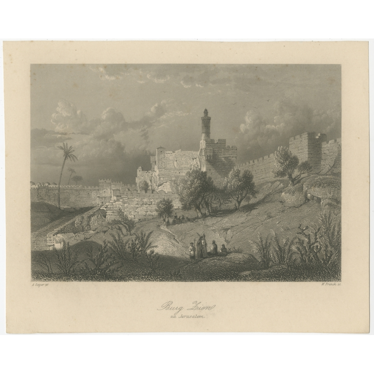 Antique Print of Mount Zion by French (c.1840)