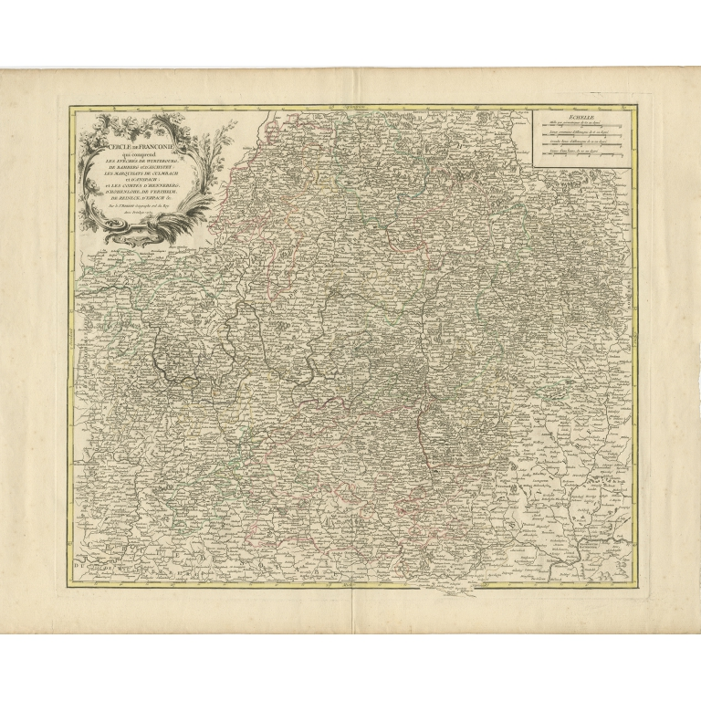 Antique Map of the Circle of Franconia by Vaugondy (1757)
