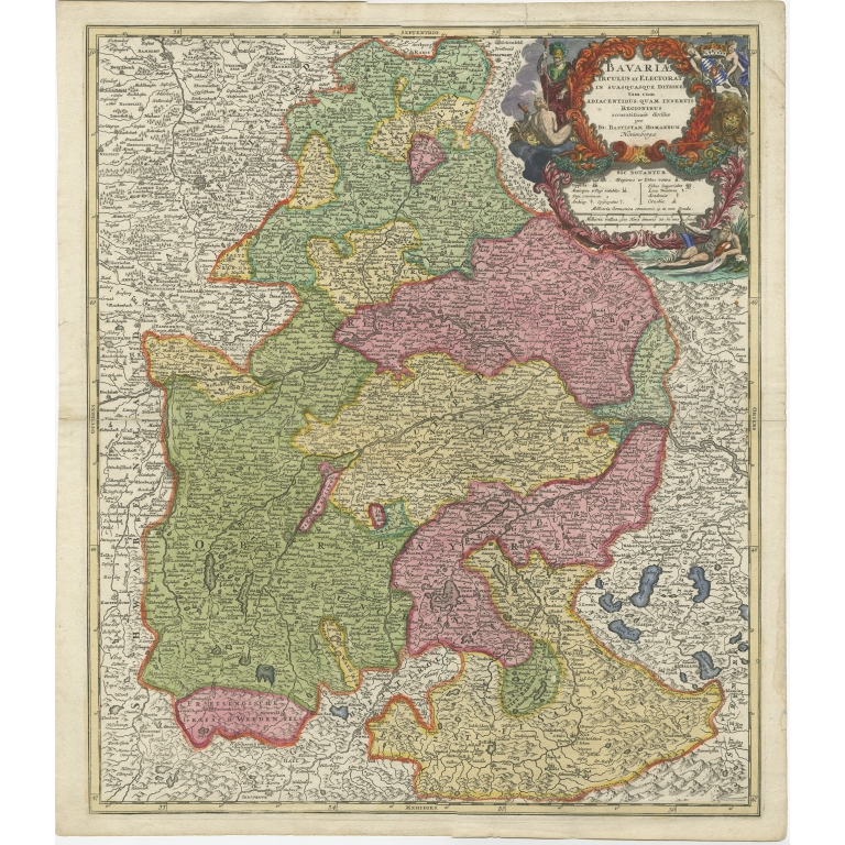 Antique Map of the Circle of Bavaria by Homann (c.1703)