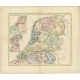 Antique Map of the Netherlands in 1560 by Mees (1853)