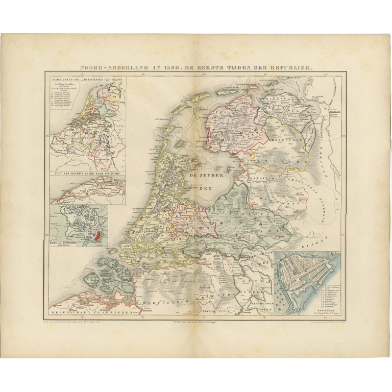 Antique Map of the Netherlands in 1590 by Mees (1854)