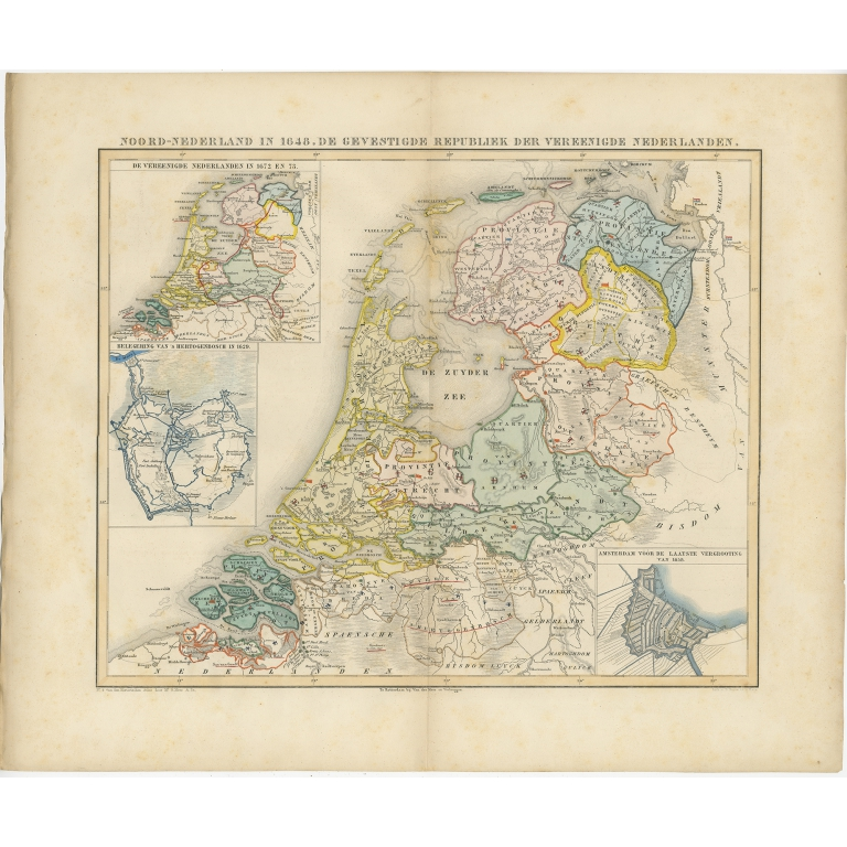 Antique Map of the Netherlands in 1648 by Mees (1855)