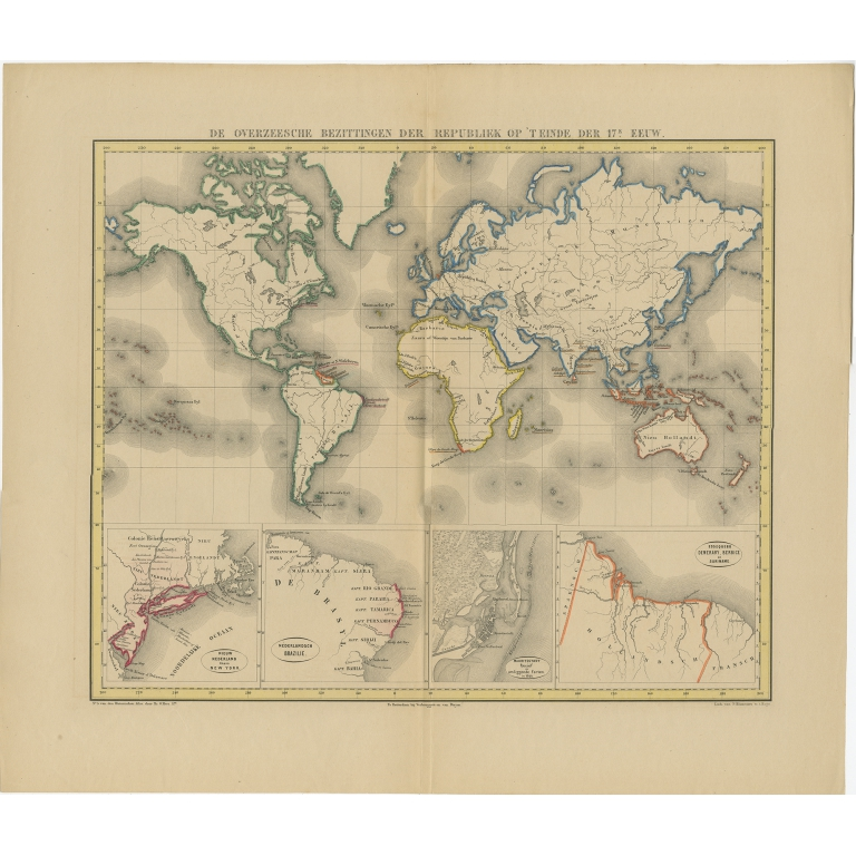 Antique Map of the Dutch Colonial Empire in the late 17th Century by Mees (1864)