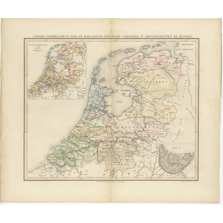 Antique Map of the Netherlands in 1798 by Mees (1851)