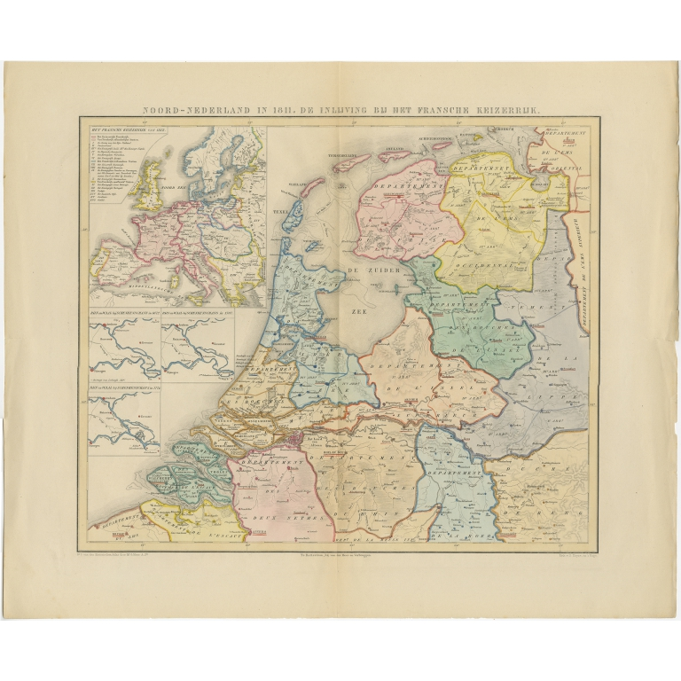 Antique Map of the Netherlands in 1811 by Mees (1858)