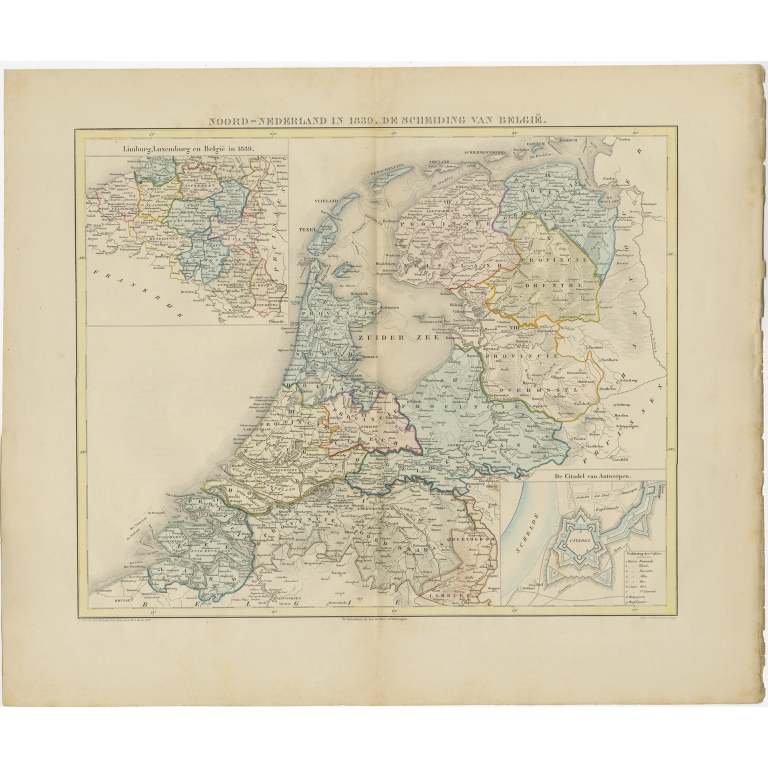 Antique Map of the Netherlands in 1839 by Mees (1860)