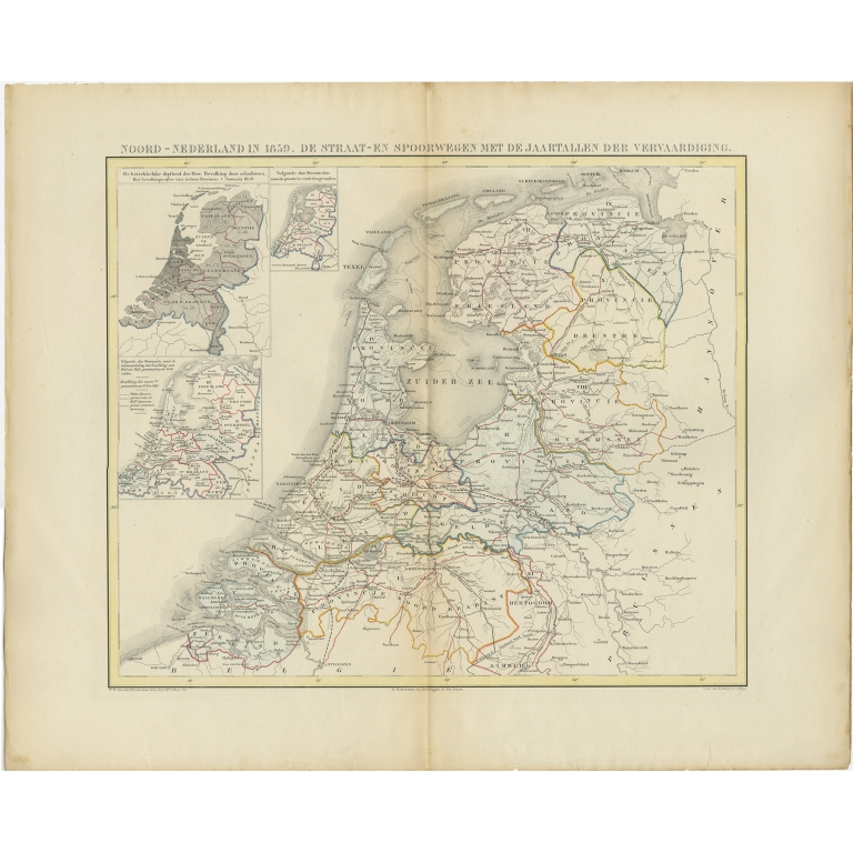 Antique Map of the Netherlands in 1859 by Mees (1861)