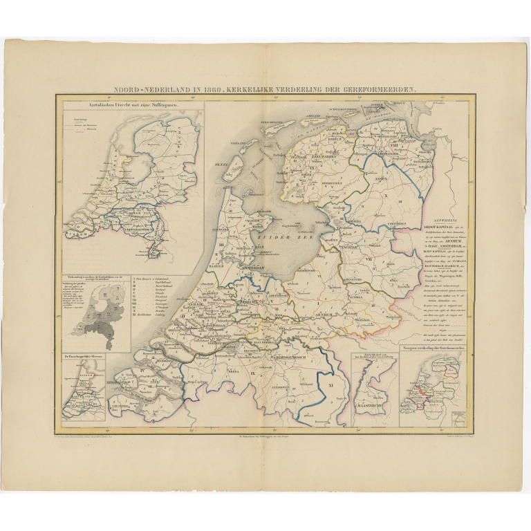 Antique Map of the Netherlands in 1860 by Mees (1862)