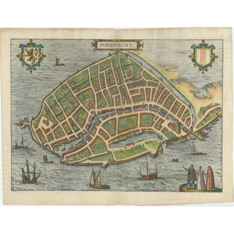 Antique Map of the City of Dordrecht by Braun & Hogenberg (c.1581)