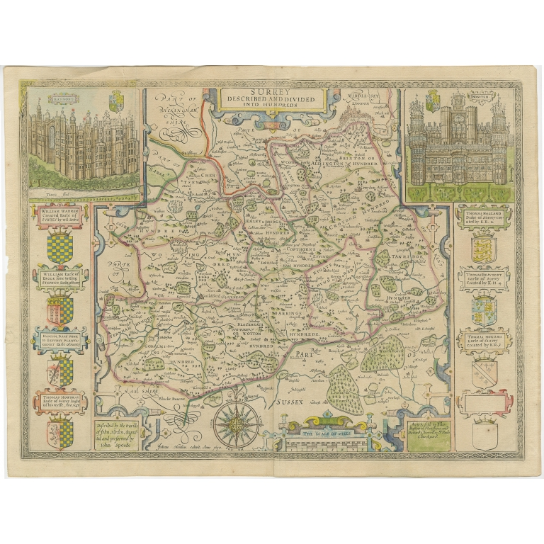 Antique Map of Surrey by Speed (1676)