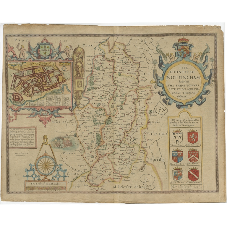 Antique Map of Nottinghamshire by Speed (1676)