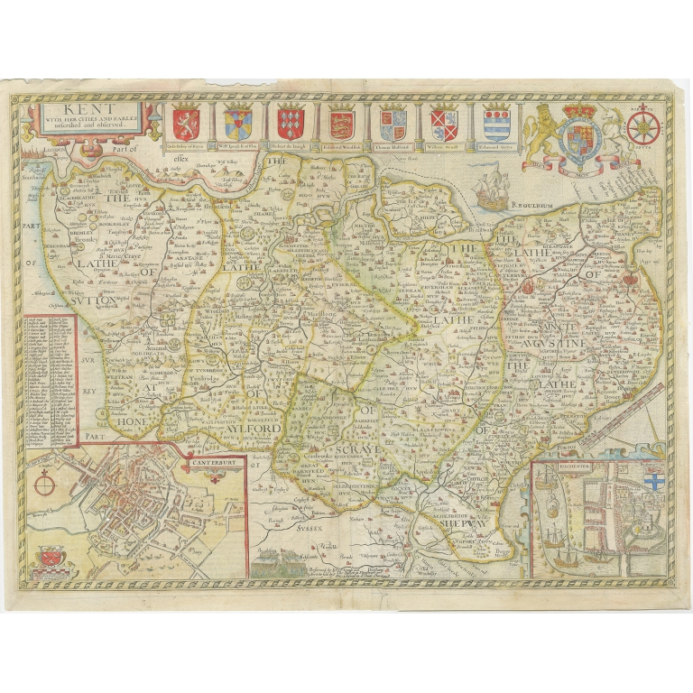 Antique Map of Kent by Speed (1676)