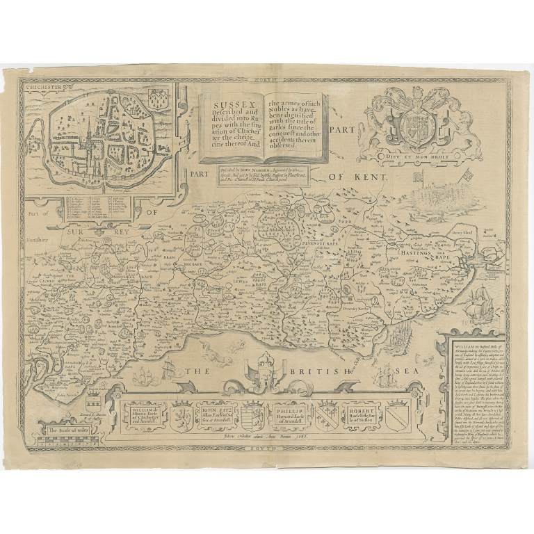 Antique Map of Sussex by Speed (1676)