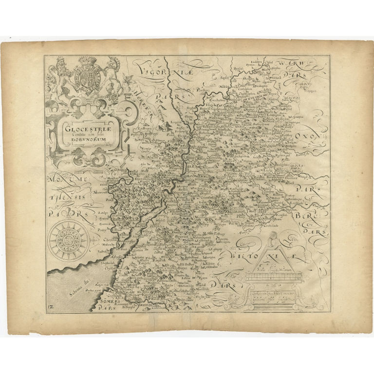 Antique Map of Gloucestershire by Camden (1637)