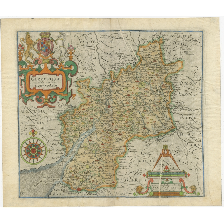Antique Map of Gloucestershire by Camden (c.1637)