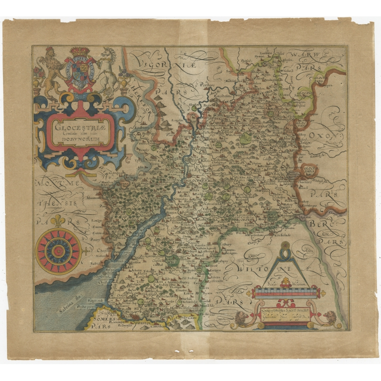 Antique Map of Gloucestershire by Camden (c.1607)