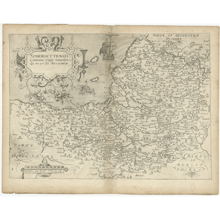 Antique Map of Somerset by Camden (c.1637)