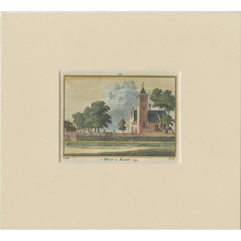 Antique Print of 'Huis te Ramp' by Spilman (c.1750)