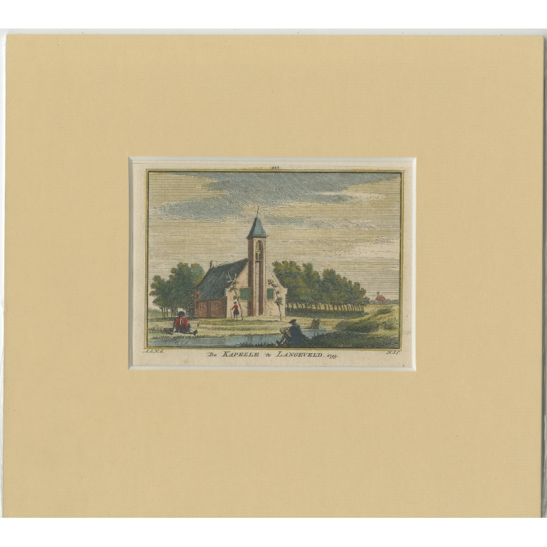 Antique Print of the Chapel of Langeveld by Spilman (c.1750)