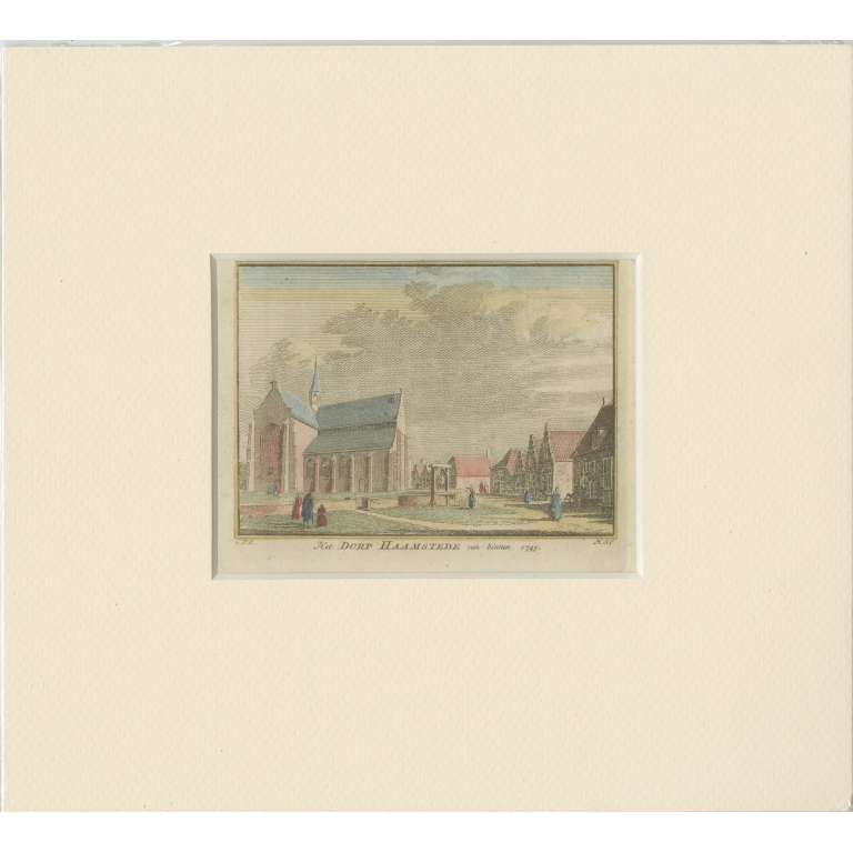 Antique Print of the village of Haamstede by Spilman (c.1750)