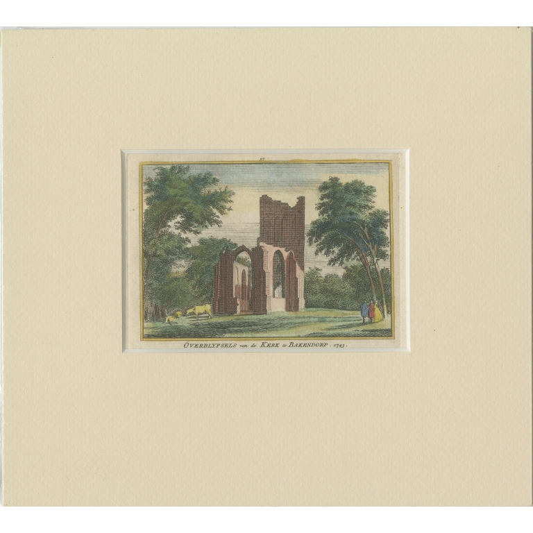 Antique Print of the Ruins of the Church of Bakendorp by Spilman (c.1750)