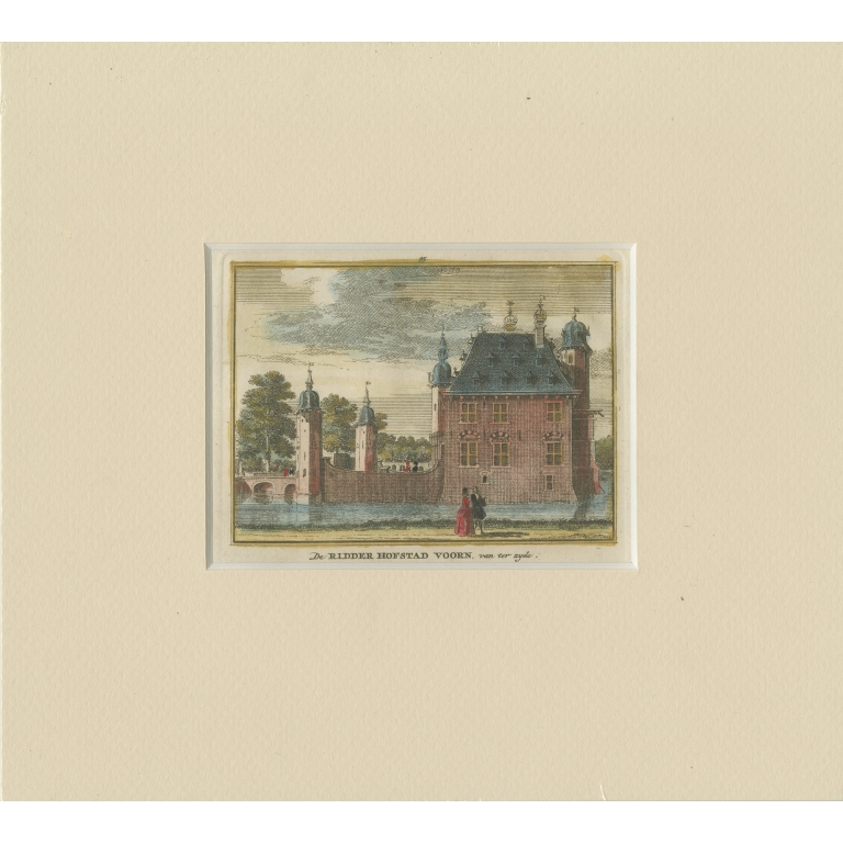 Antique Print of 'Huis te Voorn' by Spilman (c.1750)