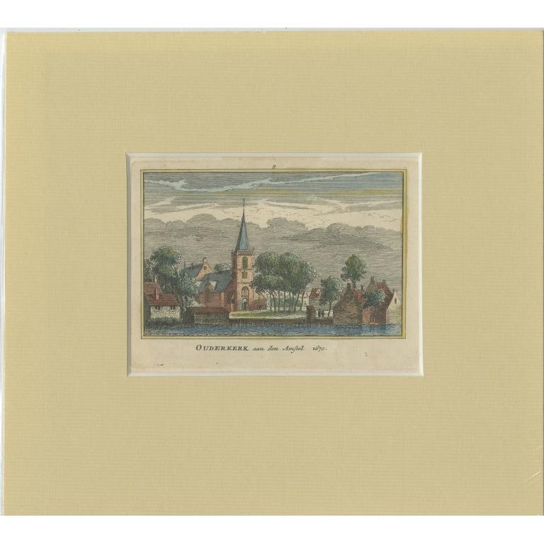 Antique Print of the village of Ouderkerk aan de Amstel by Rademaker (c.1730)