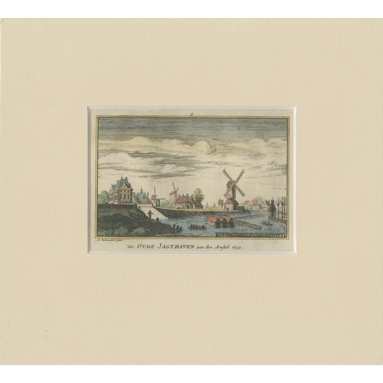 Antique Print of a Harbor near the Amstel River by Rademaker (c.1730)