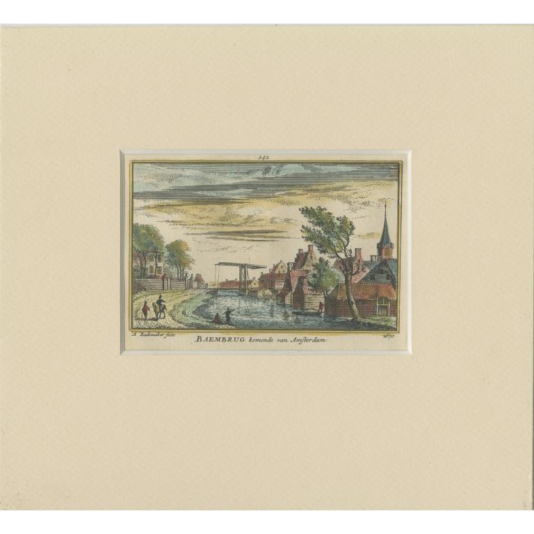 Antique Print of the Village of Baambrugge by Rademaker (c.1730)