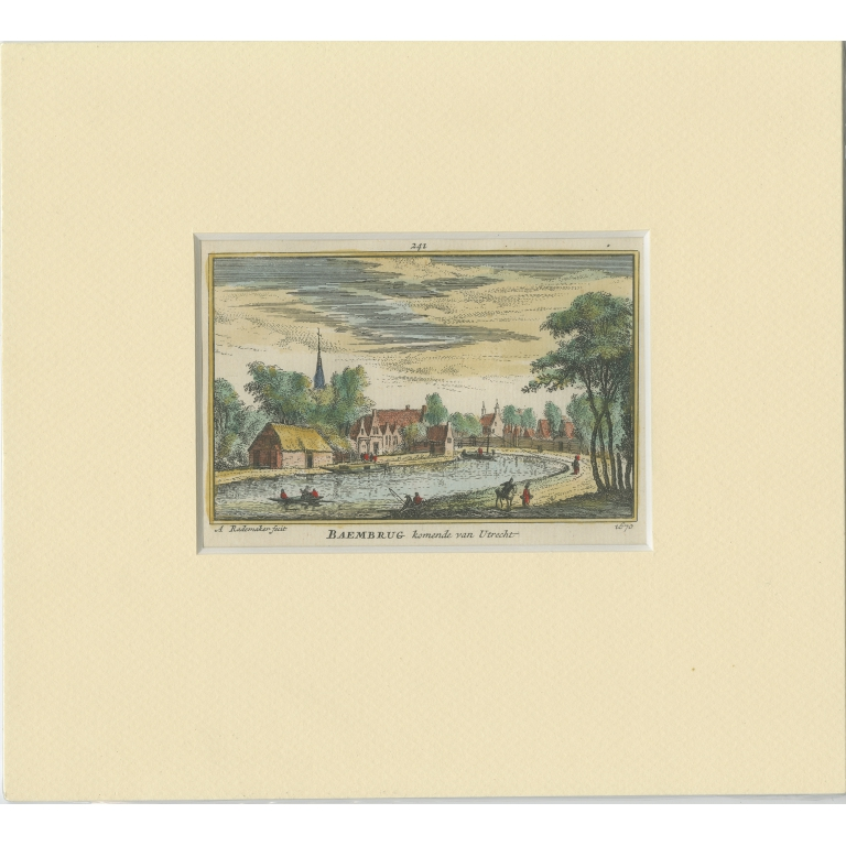 Antique Print of the Village of Baambrugge by Rademaker (c.1730)