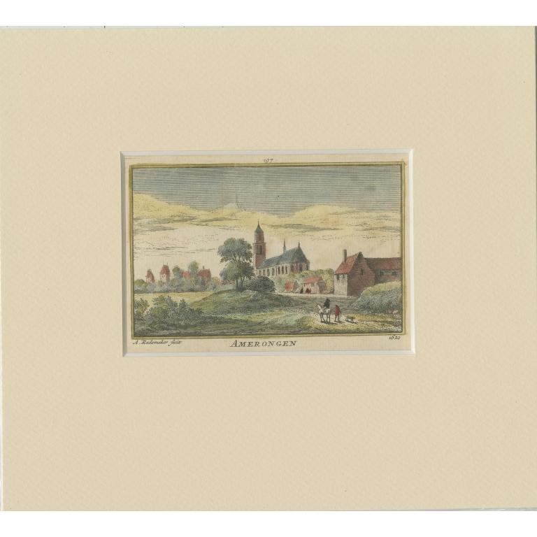 Antique Print of the Village of Amerongen by Rademaker (c.1730)