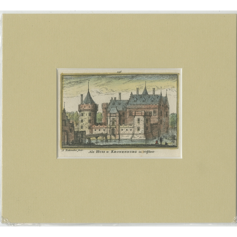 Antique Print of Kronenburg Castle by Rademaker (c.1730)
