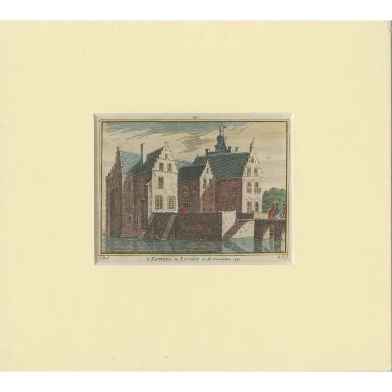 Antique Print of Loenen Castle by Pronk (1750)